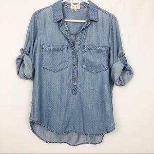 Cloth & Stone Polka Dot Chambray Fab Sleeve Top